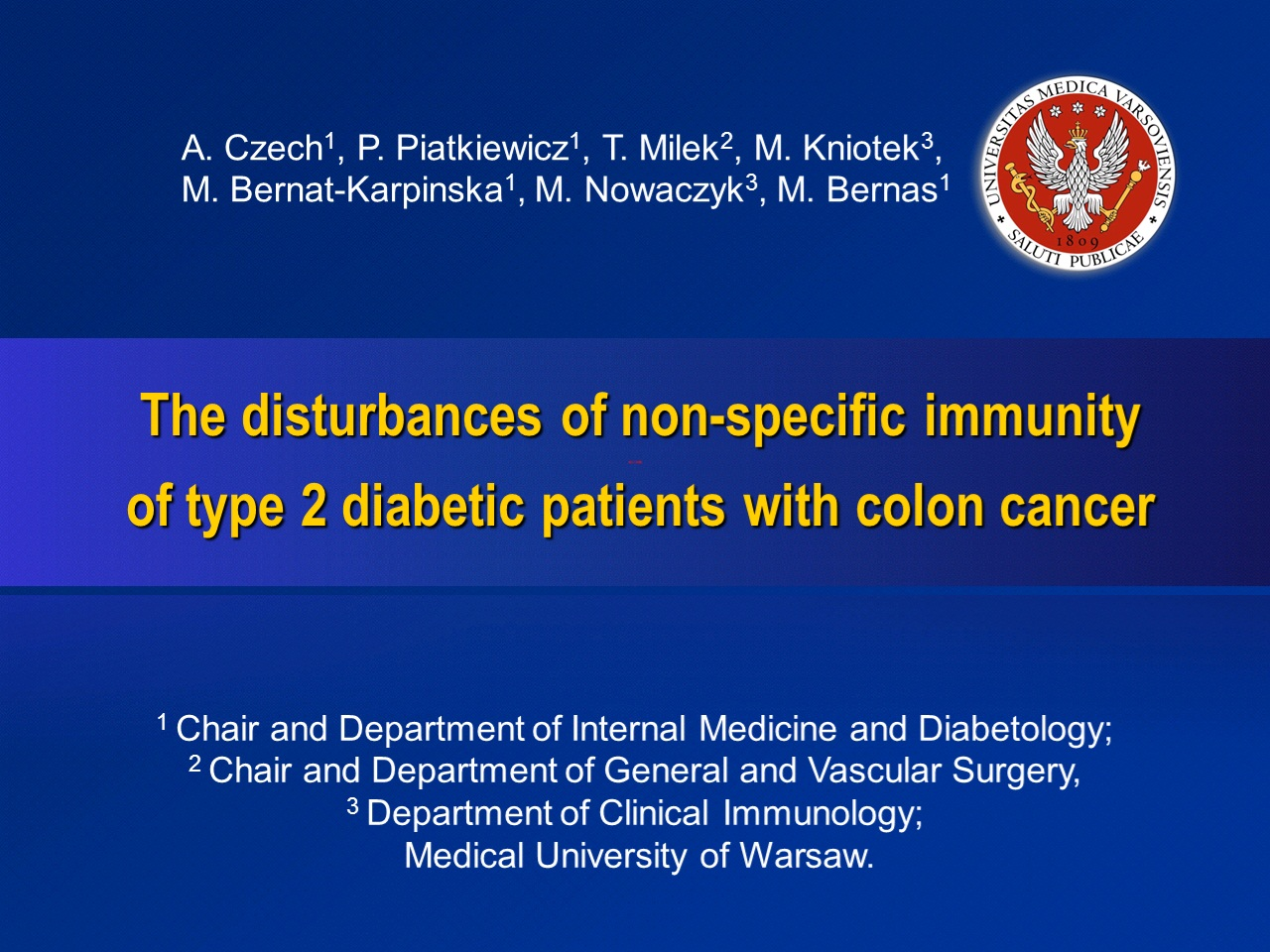 The Disturbances Of Non Specific Immunity Of Type 2 Diabetic Patients With Colon Cancer Virtual Meeting Easd