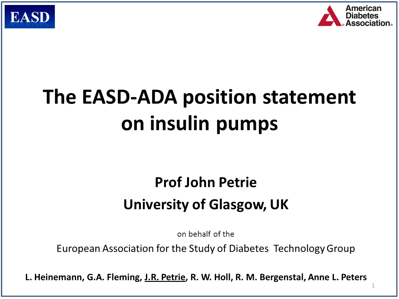 The ADA/EASD statement on insulin pumps - Virtual Meeting | EASD